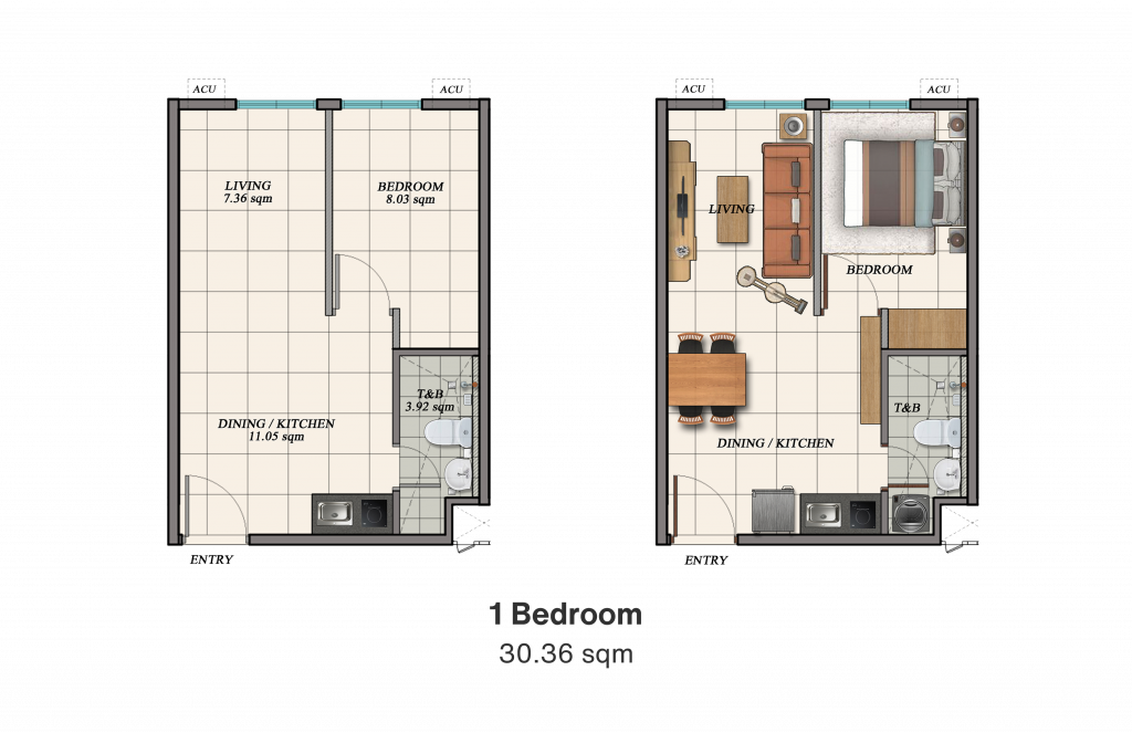 Camella Manors Frontera 1 Bedroom Unit Layout