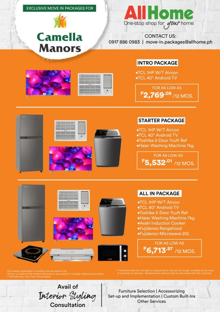 Affordable Condo Philippines - AllHome - Appliance Package for Camella Manors