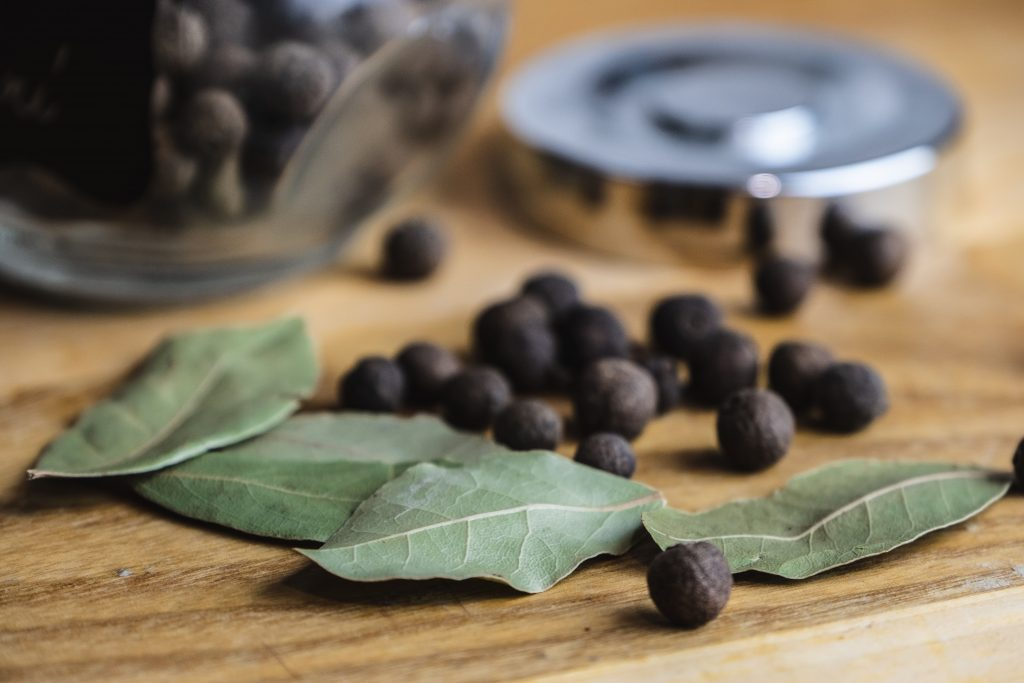 Dried Bay Leaves on the Kitchen Table   Essential Herbs and Spices