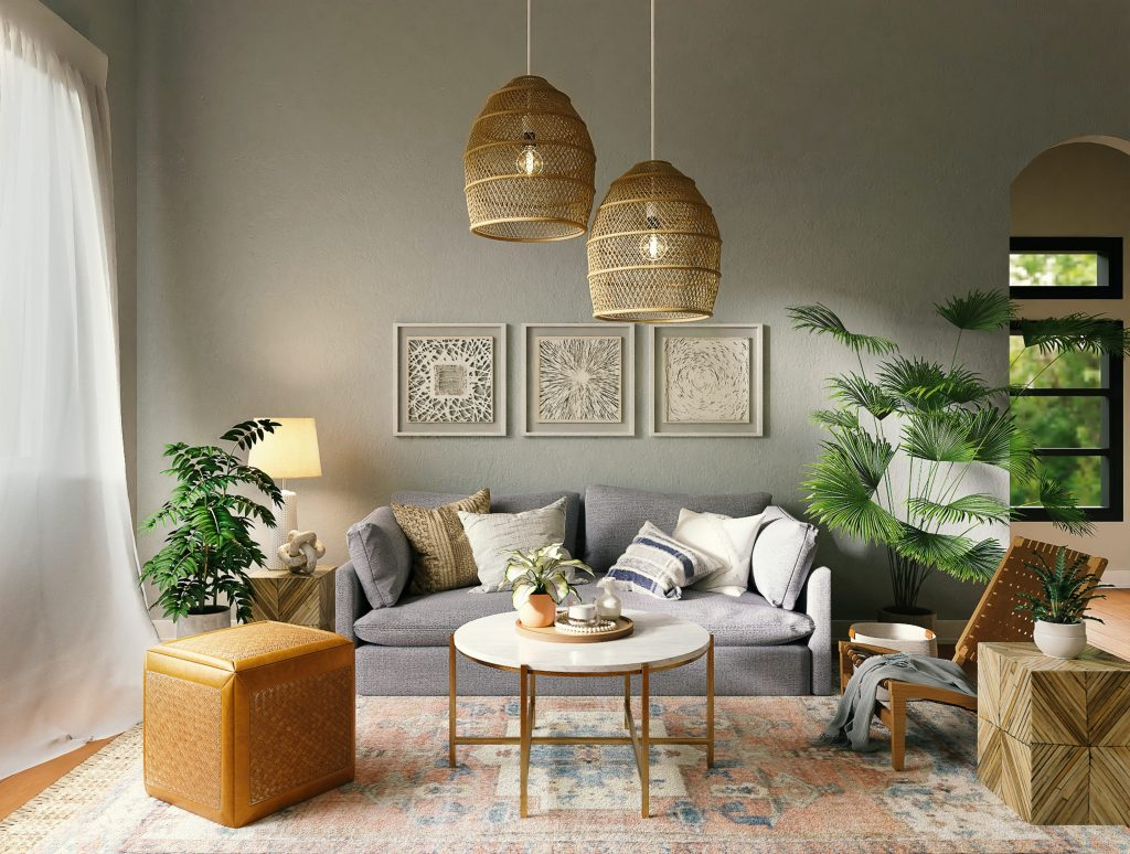 Gold Accents in a Small Living Room